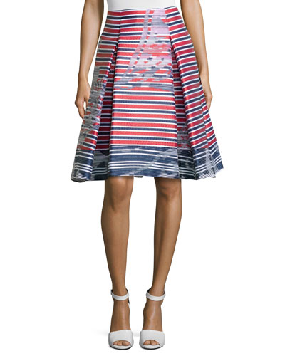 Skinny-Stripe Pleated Skirt, Multi Color