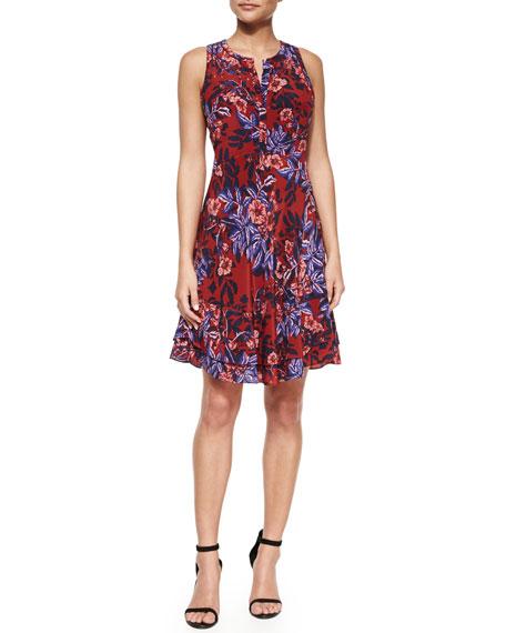 Silk Floral-Print Dress, Red