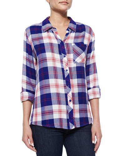 Hunter Plaid Poplin Shirt, White/Blue/Cherry