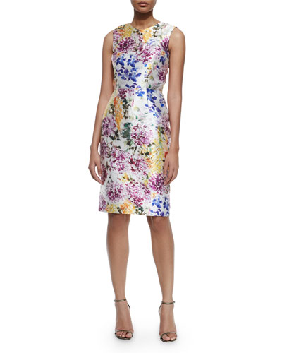 Sleeveless Floral-Print Cocktail Dress, Artistic Floral