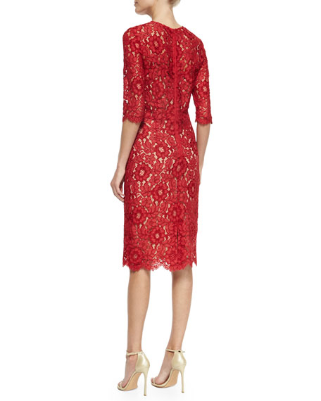 3/4-Sleeve Lace Cocktail Dress, Red/Nude