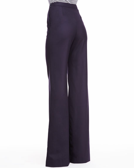Heather Tropical Wool Pants, Navy