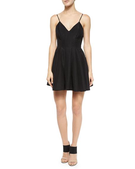 Keepsake Star Crossed Pleated Fit-and-Flare Dress, Black