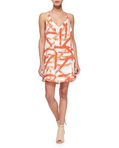 Racerback Haystack Shift Dress, Blood Orange/White