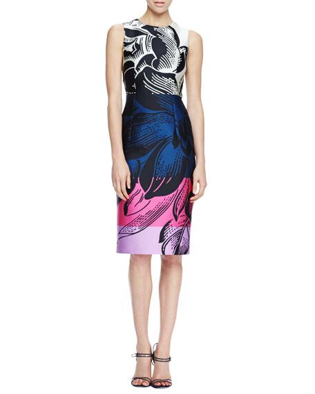 Floral-Print Scuba Dress, Black/Multicolor