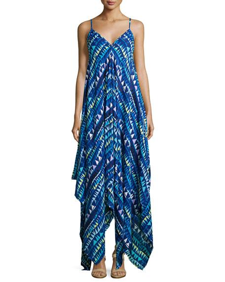 Karina Grimaldi Irene Sleeveless Geometric-Print Dress, Blue