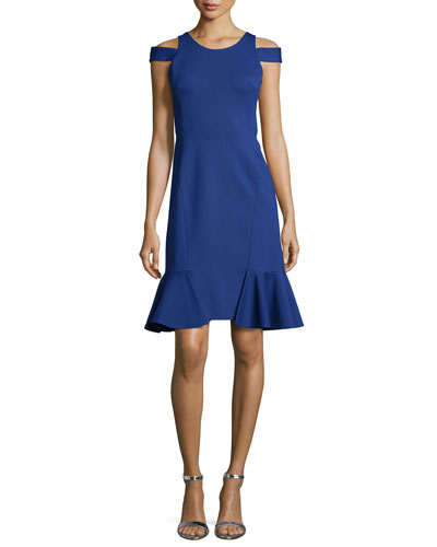 Silk Cold-Shoulder Sheath Dress, Blue Hawaii