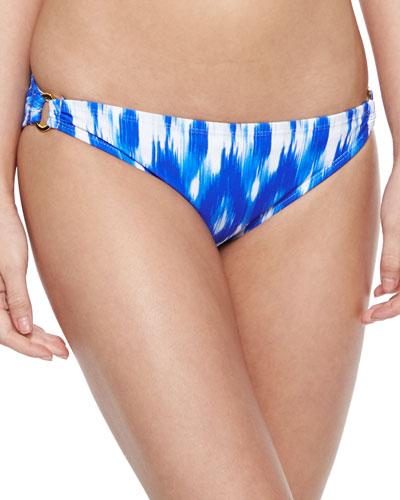 Ikat-Print Hipster Swim Bottom, Blue/White