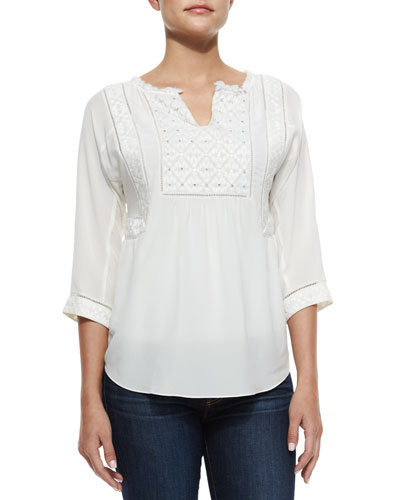 Box Stem Embroidered Silk Top, Chalk