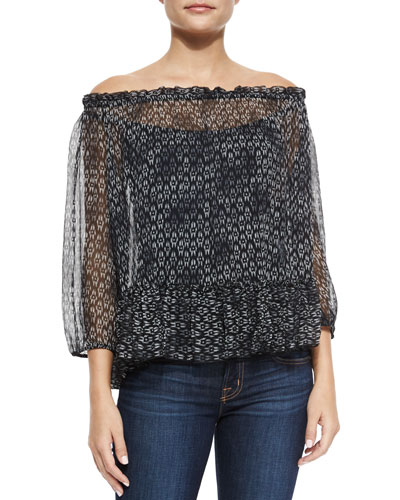 Box Step Off-the-Shoulder Blouse, Black