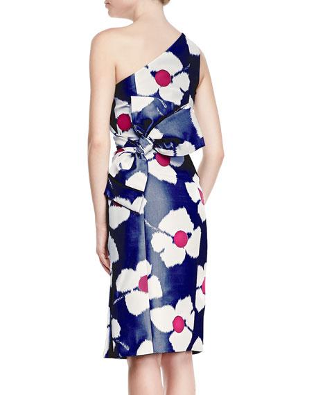 One-Shoulder Back Bow Dress, Navy/Ivory/Pink