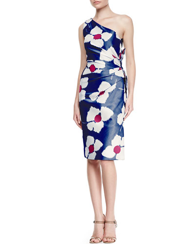 One-Shoulder Back Bow Dress, Navy/Ivory/Pink