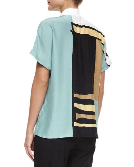 Reyn Printed Short-Sleeve Blouse, Ocean/Multi