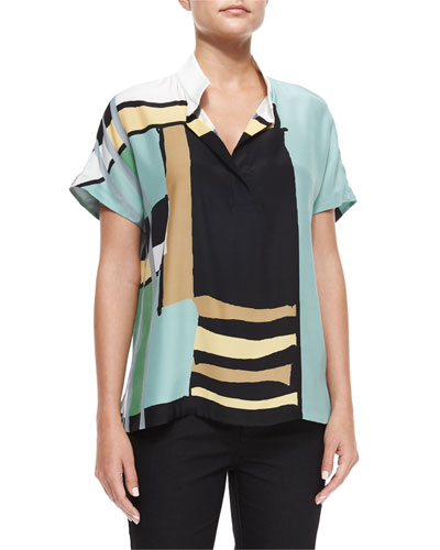 Reyn Printed Short-Sleeve Blouse, Ocean/Multi