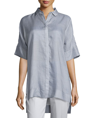 Andra Gemma Cloth Short-Sleeve Blouse