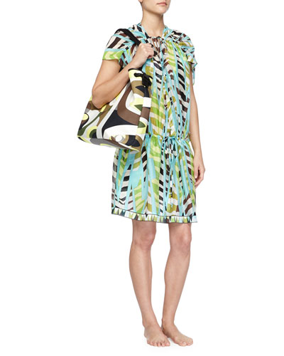 Printed Silk Drawstring Coverup Dress