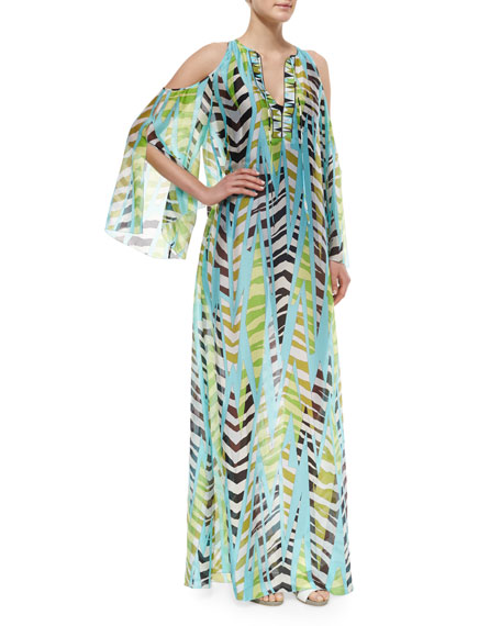 Emilio Pucci Printed Open-Shoulder Silk Coverup