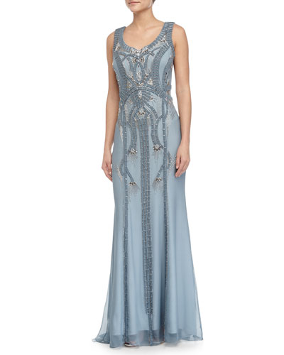 Forget Me Not Beaded Sheath Gown, Blue