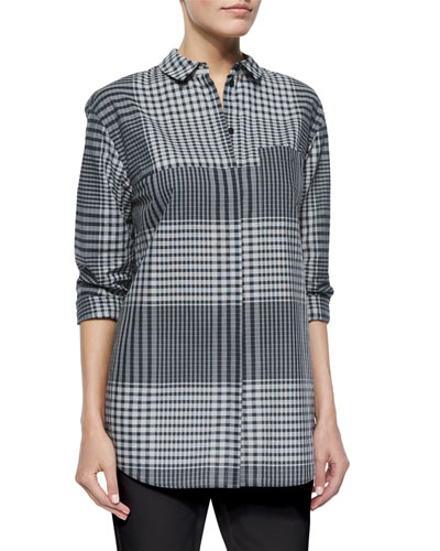 Blanchette Long-Sleeve Check Blouse
