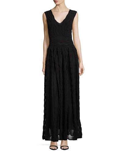 Sheer Greek Key Maxi Dress