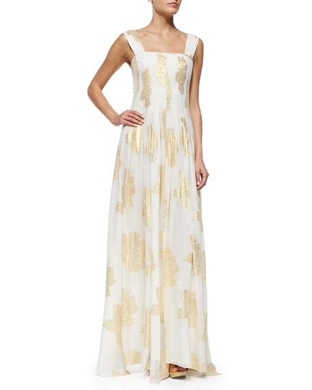 Diane von Furstenberg Lillie Metallic Leaf-Print Maxi Dress,