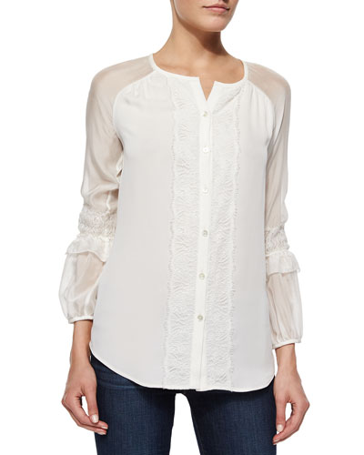 Taylor Lace-Trim Mixed-Media Blouse, Ivory