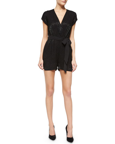 Purdette Beaded Short Romper, Black
