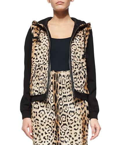 Elodie Leopard-Print Lamb Fur Jacket