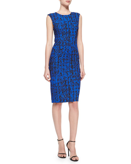 Milly Scribble-Print Midi Sheath Dress