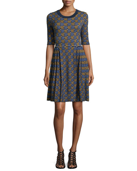 M Missoni Half-Sleeve Geometric Pleated-Skirt Dress