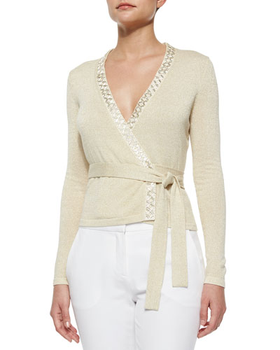 Shimmer-Knit Ballerina Wrap Top, Gold/Ivory