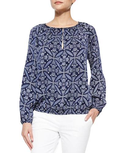 Tile-Print Peasant Blouse, Midnight