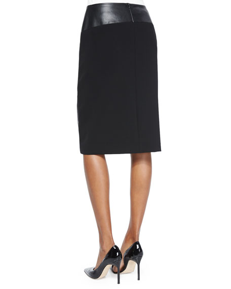 Lafayette 148 New York Nori Faux-Wrap Faux-Leather Pencil Skirt