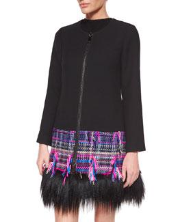 Karena Couture Fur-Trim Tweed Coat, Multi Colors