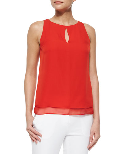 Sleeveless Layered Top, Red