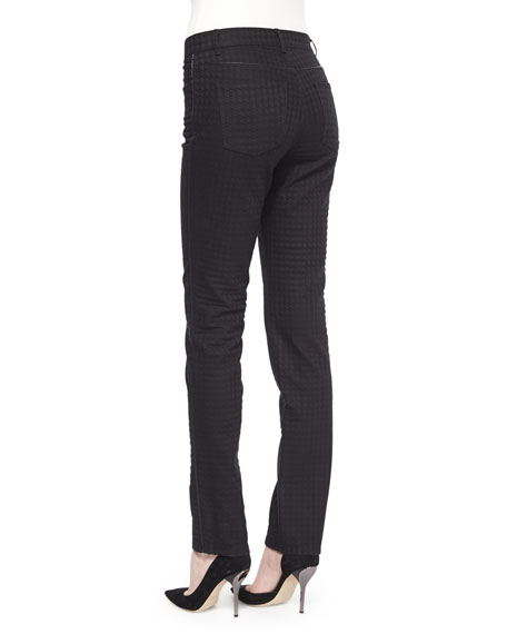 Houndstooth Jacquard Slim Jeans