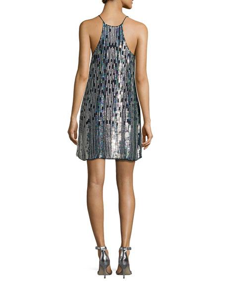 Sleeveless Sequin Lines Dress, Navy Multi
