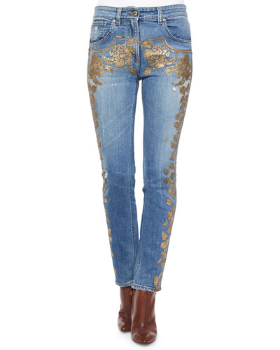 Metallic Applique Fitted Boyfriend Jeans