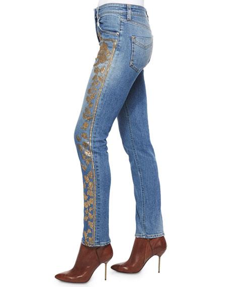 Metallic Applique Fitted Boyfriend Jeans