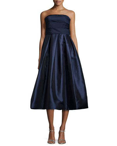 Strapless Empire-Waist Pleated Midi Dress