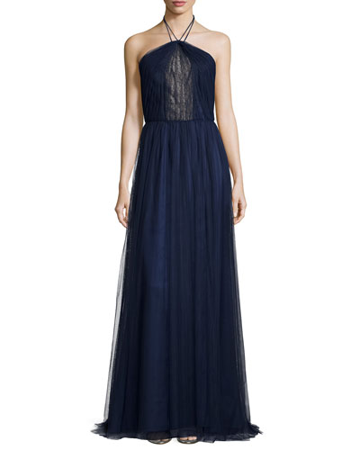 Halter Lace-Center Pleated Tulle Gown