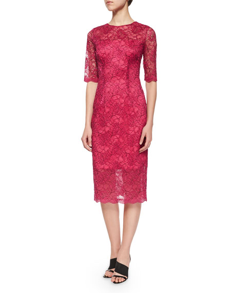 ML Monique Lhuillier 3/4-Sleeve Lace Cocktail Sheath Dress