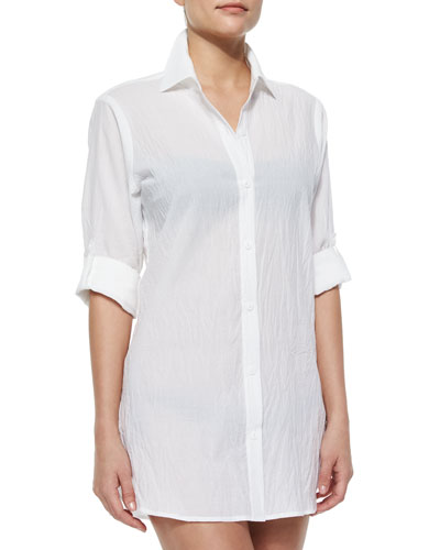 Crinkle Boyfriend Shirt Coverup, White