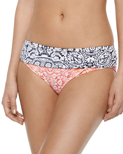 Floral-Print Ruched-Side Swim Bottom, Coral
