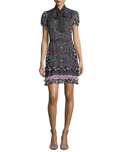 Short-Sleeve Multipattern Silk-Blend Dress, Black/Multicolor