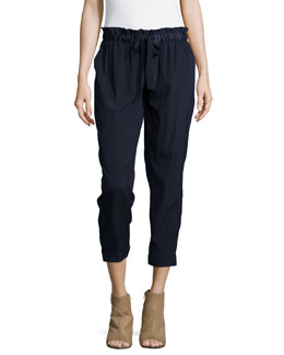 Paperbag-Waist Trousers W/Tie, Prussian Blue