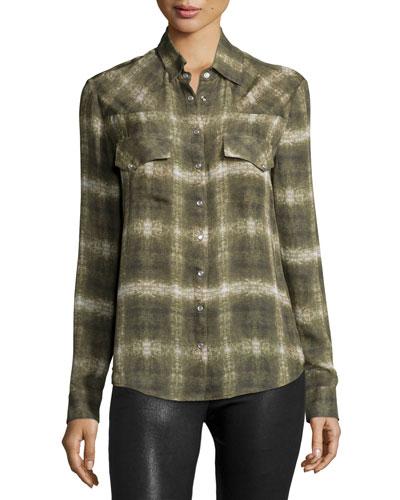 Long-Sleeve Basic Western Shirt, Military Multi