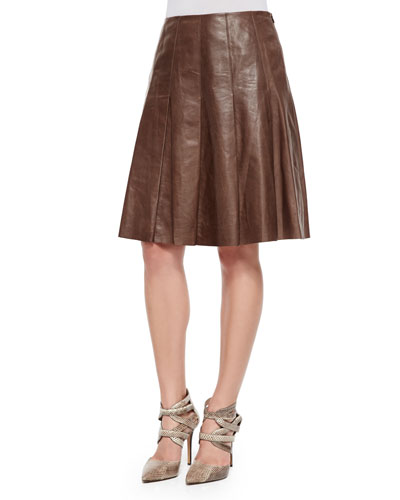 Rayden Pleated Lambskin Leather Skirt