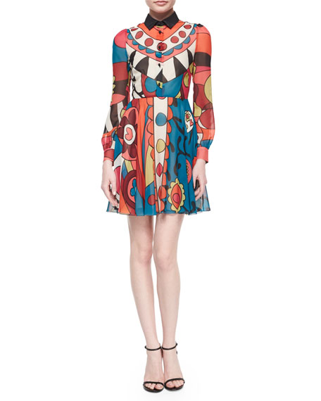 RED Valentino Long-Sleeve Flower Power Graphic Dress