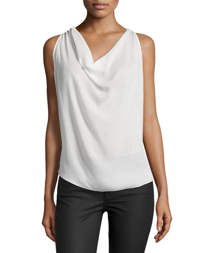 Sleeveless Embellished-Racerback Blouse, Swan